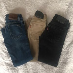 3 pairs of Jeans, Levi's and Volcom size 8 boys